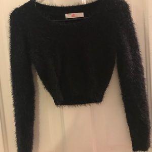 Fuzzy crop sweater